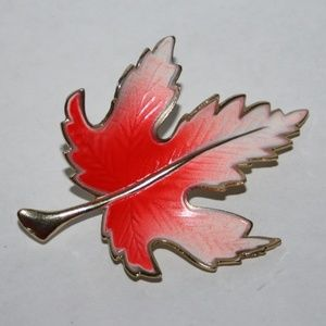 Vintage gold and neon maple leaf brooch